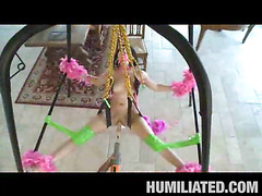 Madison had a blast getting fastened up with feather boas on a sex swing and having her mouth gagged to keep this little impure legal age teenager wench from making likewise much noise. Her legs were widen wide open and was trickling with cum, begging to be fucked! We sprayed party string all over and cranked the fuck machine on high just in advance of that honey took a pounding from a hard shlong...