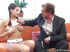 Wrinkly old bloke sticks his large obese jock into a juvenile virginal schoolgirl???s recent lips.