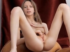 Rubbing her pinkish slit gives hotty pleasant ecstasy