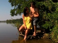 Legal Age Teenager slut begins gratifying her fuckmate with sex in the lake
